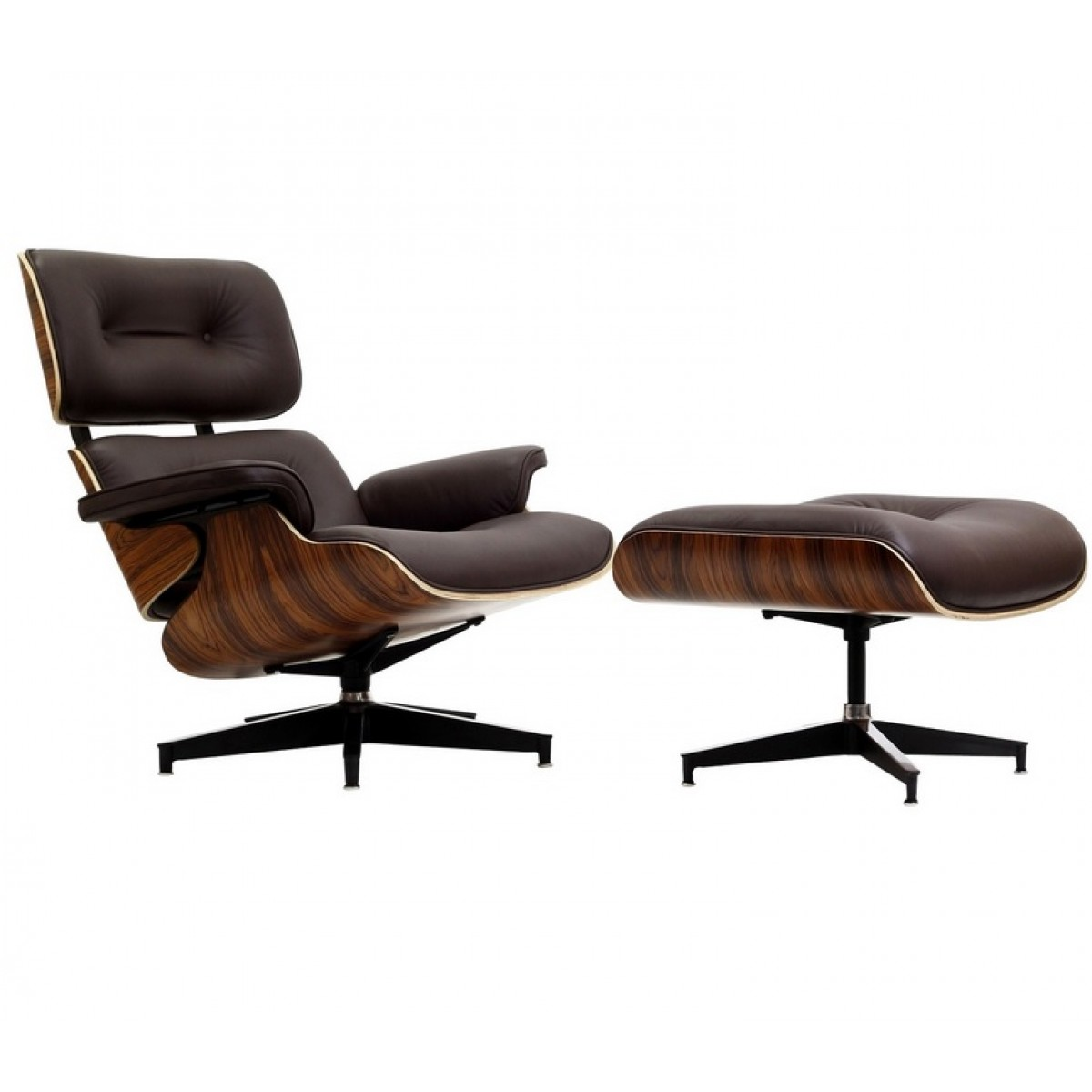 eames style lounge chair and ottoman brown leather walnut. Black Bedroom Furniture Sets. Home Design Ideas