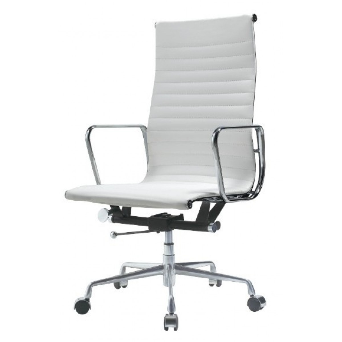 ea119 eames style office chair high back ribbed white leather. Black Bedroom Furniture Sets. Home Design Ideas