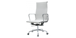 EA119 Eames Style Office Chair High Back Ribbed WHITE Leather - Replica