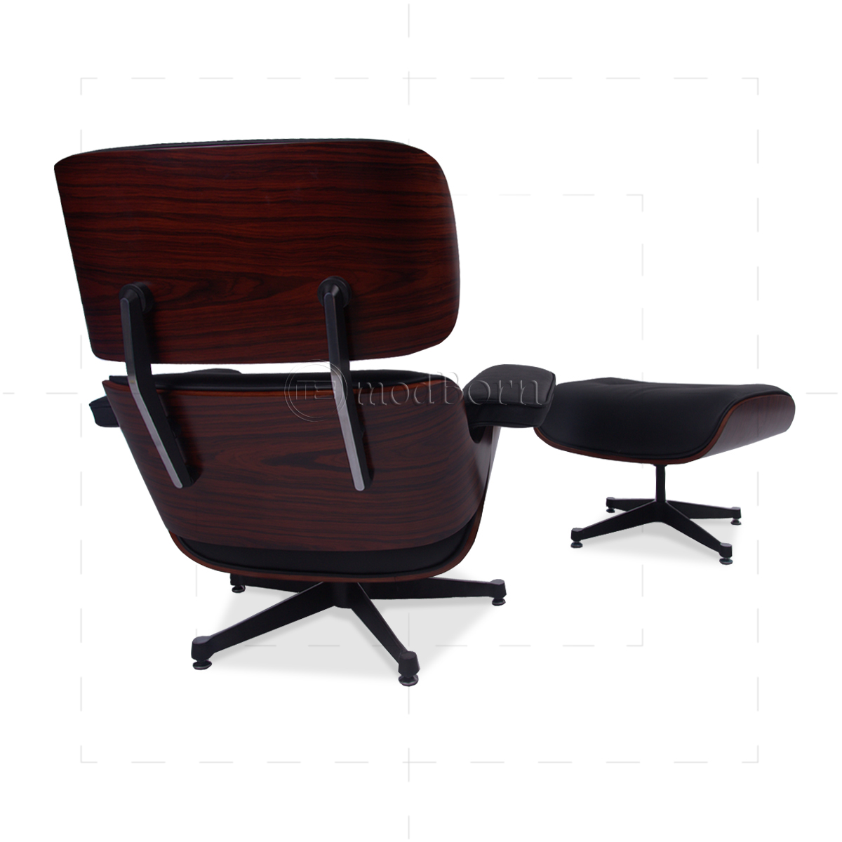 Eames style lounge chair and ottoman black leather for Eames replica