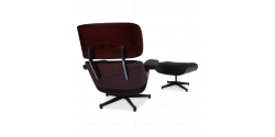Lounge Chair and Ottoman Black Leather Palisander Rosewood (TALLER)