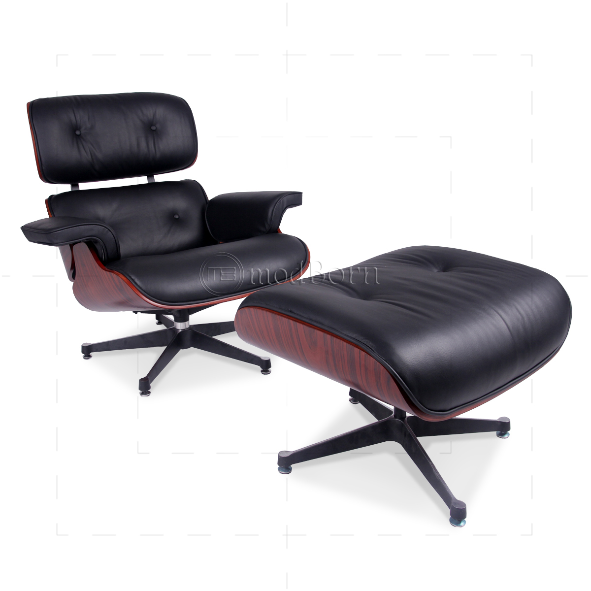 Eames style lounge chair and ottoman black leather for Reproduction chaise eames