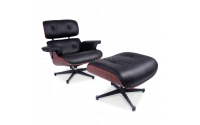 Eames Style Lounge Chair and Ottoman Black Leather Palisander Rosewood - Replica