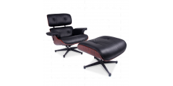 Lounge Chair and Ottoman Black Leather Palisander Rosewood