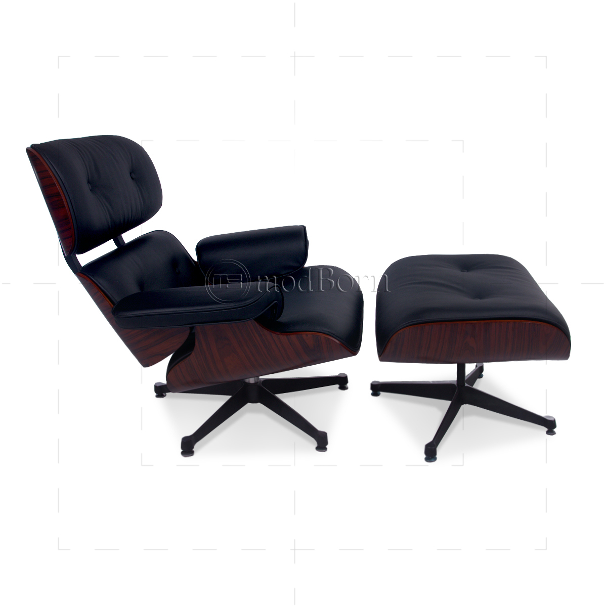 eames style lounge chair and ottoman black leather palisander rosewood replica. Black Bedroom Furniture Sets. Home Design Ideas