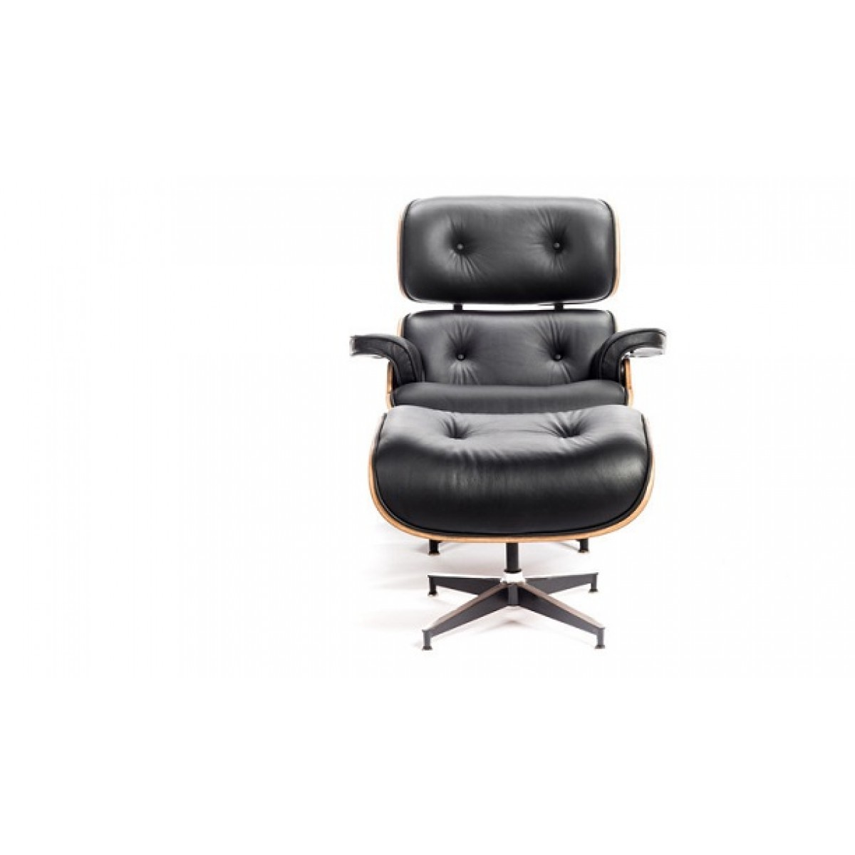 Eames Style Lounge Chair And Ottoman Black Leather Oak PlyWood   Replica