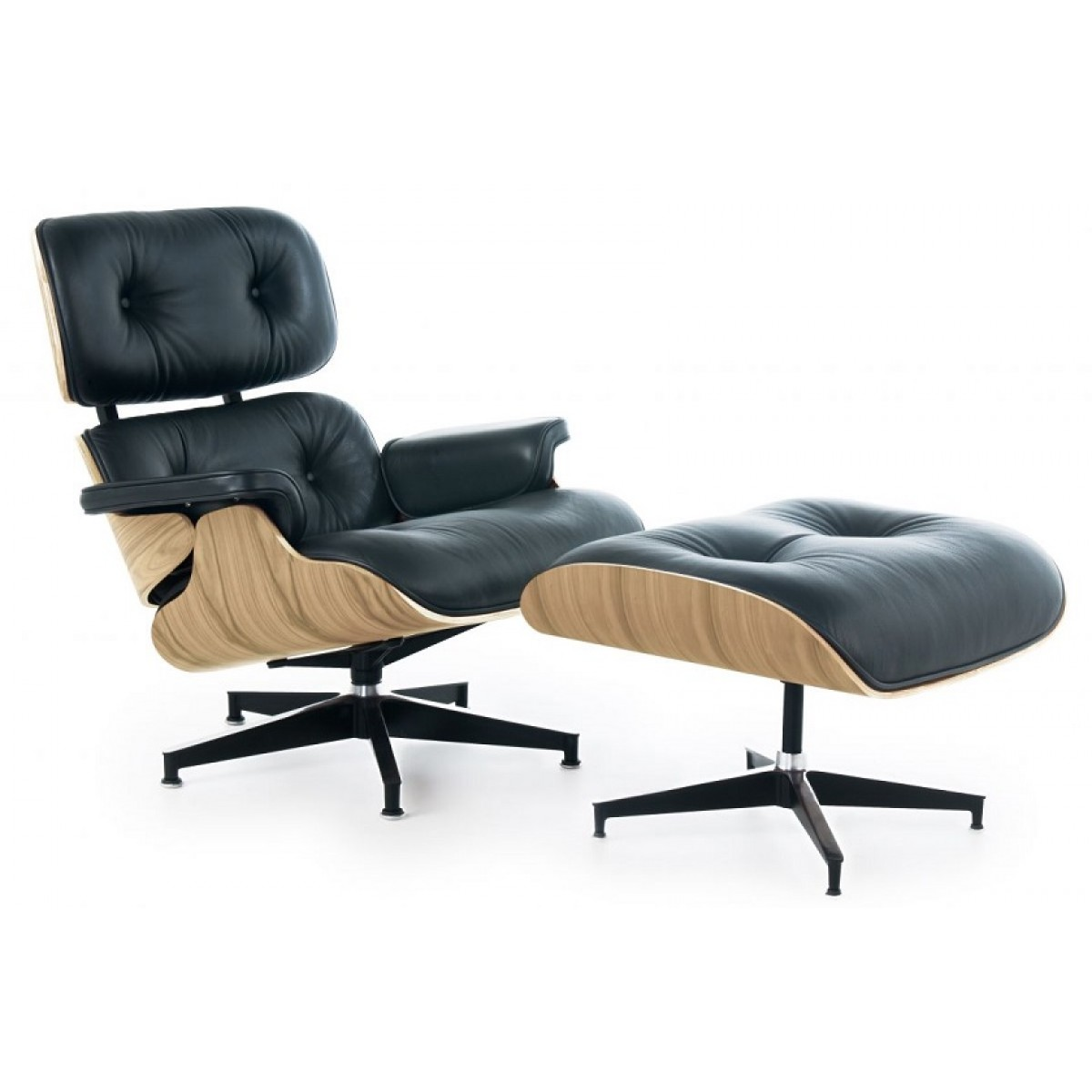 eames style lounge chair and ottoman black leather oak plywood. Black Bedroom Furniture Sets. Home Design Ideas