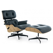 Eames Style Lounge Chair and Ottoman Black Leather Oak PlyWood - Replica