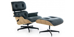 Lounge Chair and Ottoman Black Leather Oak PlyWood