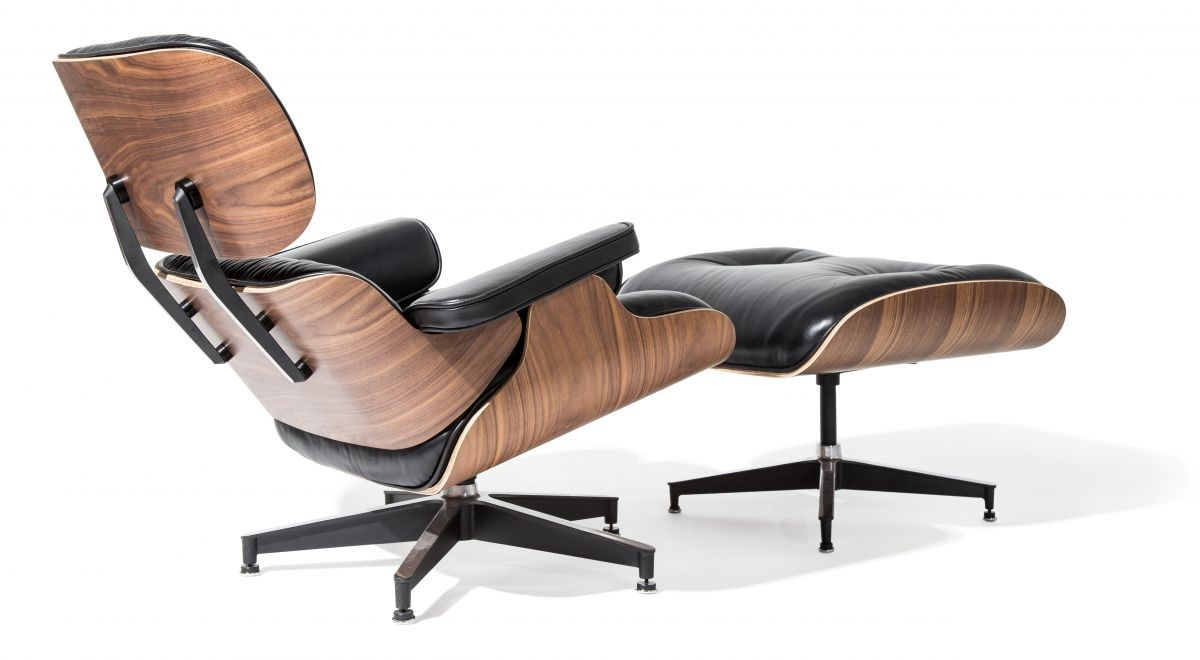 eames style lounge chair and ottoman black leather walnut wood replica. Black Bedroom Furniture Sets. Home Design Ideas
