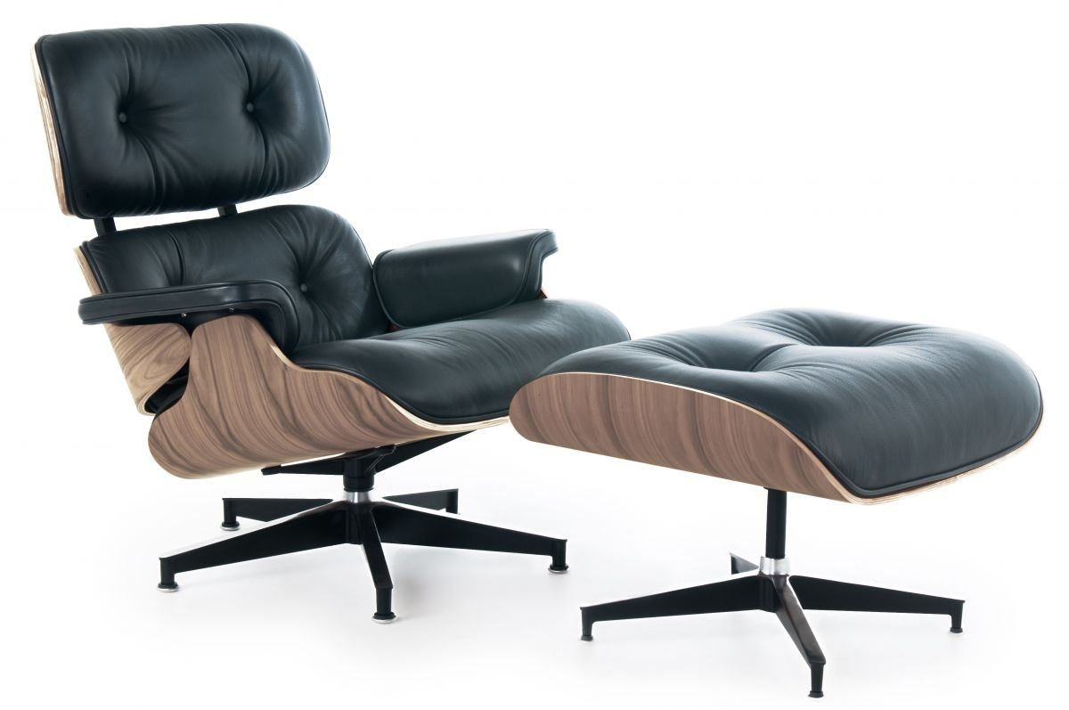 Eames Style Lounge Chair and Ottoman Black Leather Walnut Wood Replica