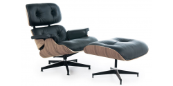 Lounge Chair and Ottoman Black Leather Walnut Wood
