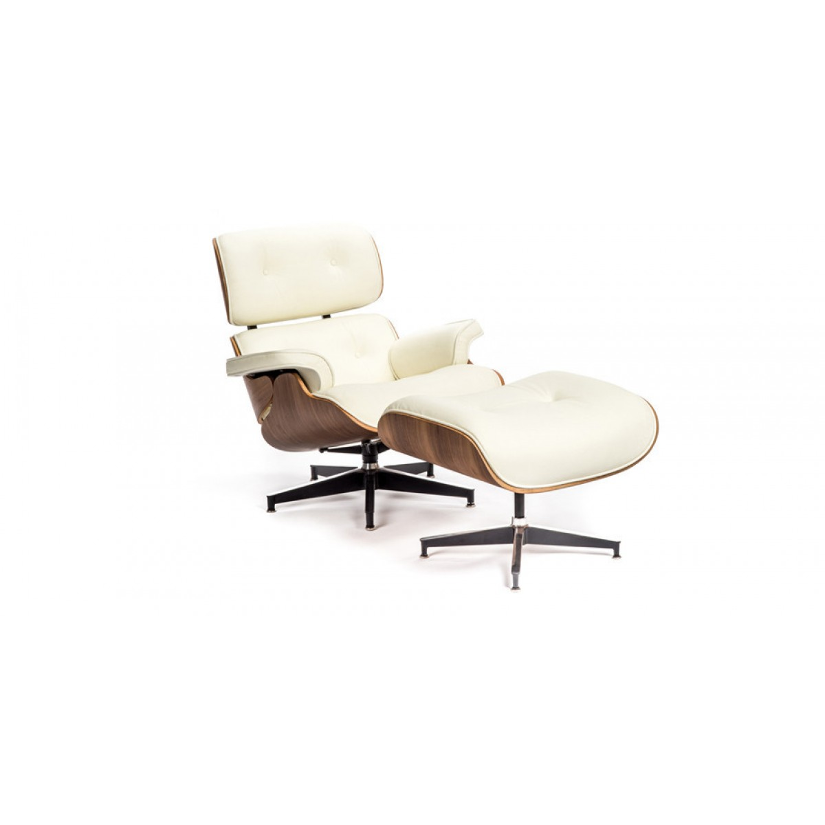 eames style lounge chair and ottoman white leather walnut wood replica. Black Bedroom Furniture Sets. Home Design Ideas