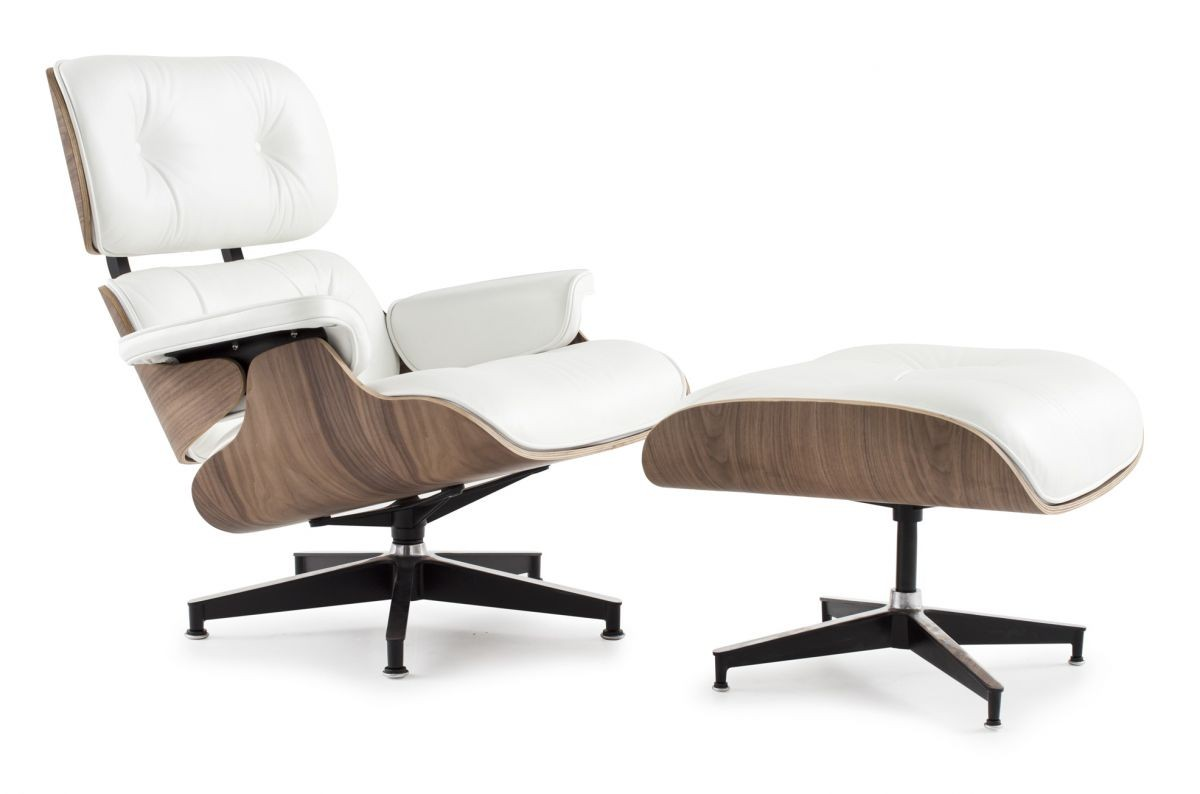 Eames style lounge chair and ottoman white leather walnut for Chaise inclinable
