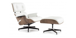 Lounge Chair and Ottoman WHITE Leather Walnut Wood