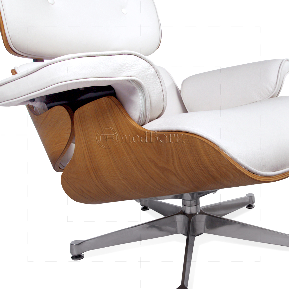 eames style lounge chair and ottoman white leather ash plywood replica. Black Bedroom Furniture Sets. Home Design Ideas