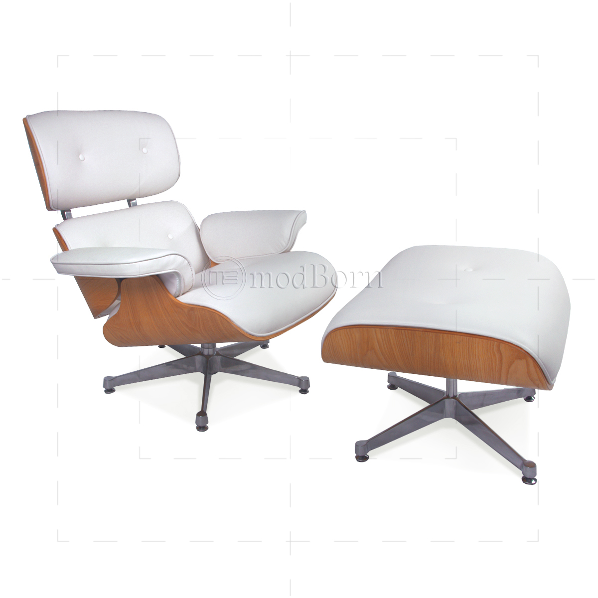 Eames Style Lounge Chair and Ottoman White Leather Oak Plywood Replica