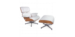 Eames Style Lounge Chair and Ottoman White Leather ASH Plywood - Replica