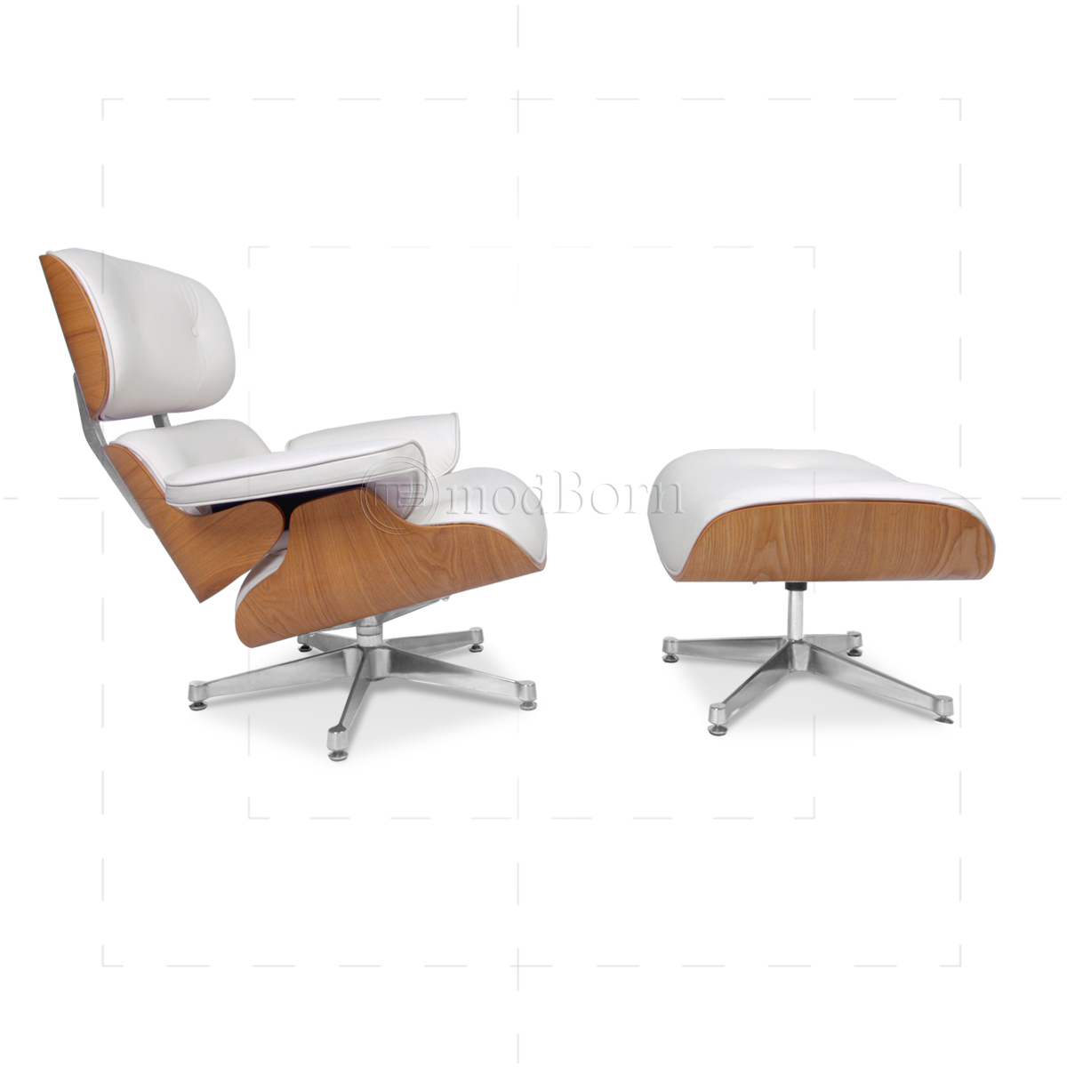 Eames Style Lounge Chair and Ottoman White Leather