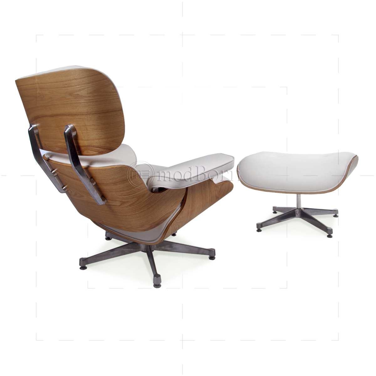 Superieur Eames Style Lounge Chair And Ottoman White Leather ASH Plywood   Replica