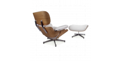 Lounge Chair and Ottoman White Leather ASH Plywood - TALLER Version
