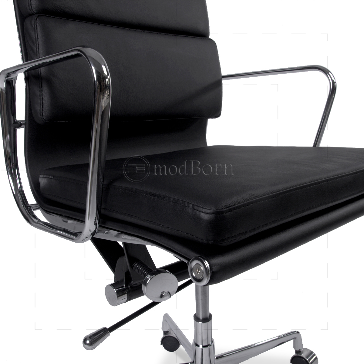 ea219 eames style office chair high back soft pad black leather