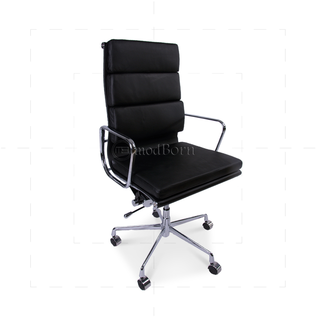 ea219 eames style office chair high back soft pad black. Black Bedroom Furniture Sets. Home Design Ideas
