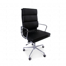 EA219 Eames Style Office Chair High Back Soft Pad Black Leather - Replica