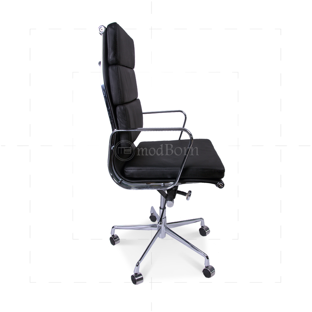 eames office chair replica. EA219 Eames Style Office Chair High Back Soft Pad Black Leather - Replica