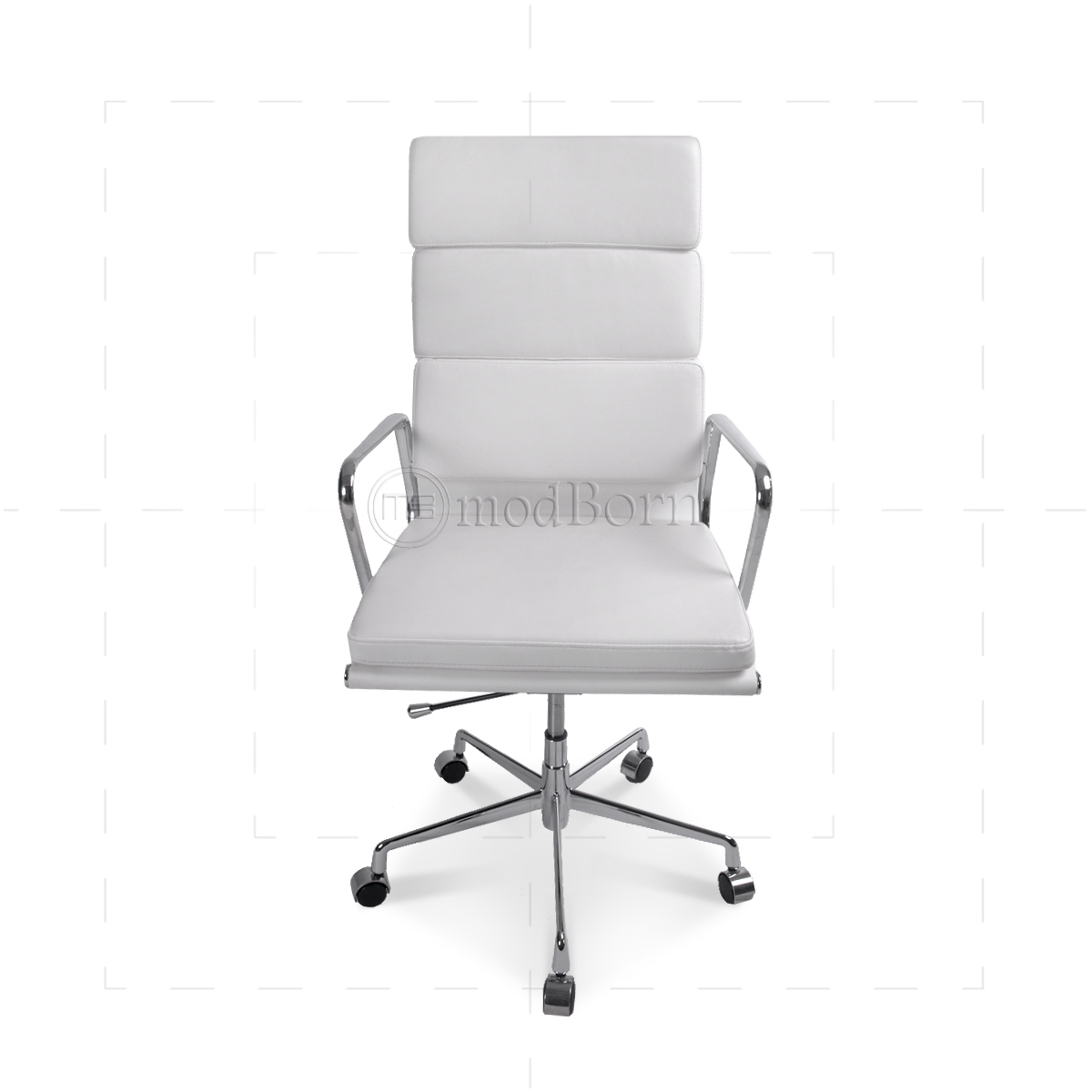 EA219 Eames Style Office Chair High Back Soft Pad White Leather Replica