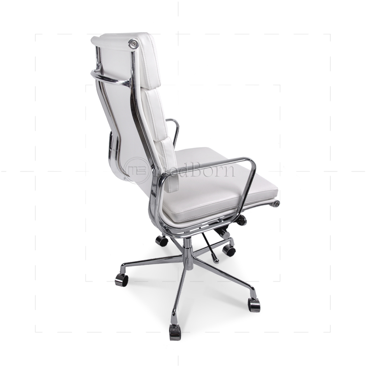 Ea219 eames style office chair high back soft pad white for Desk chair white leather
