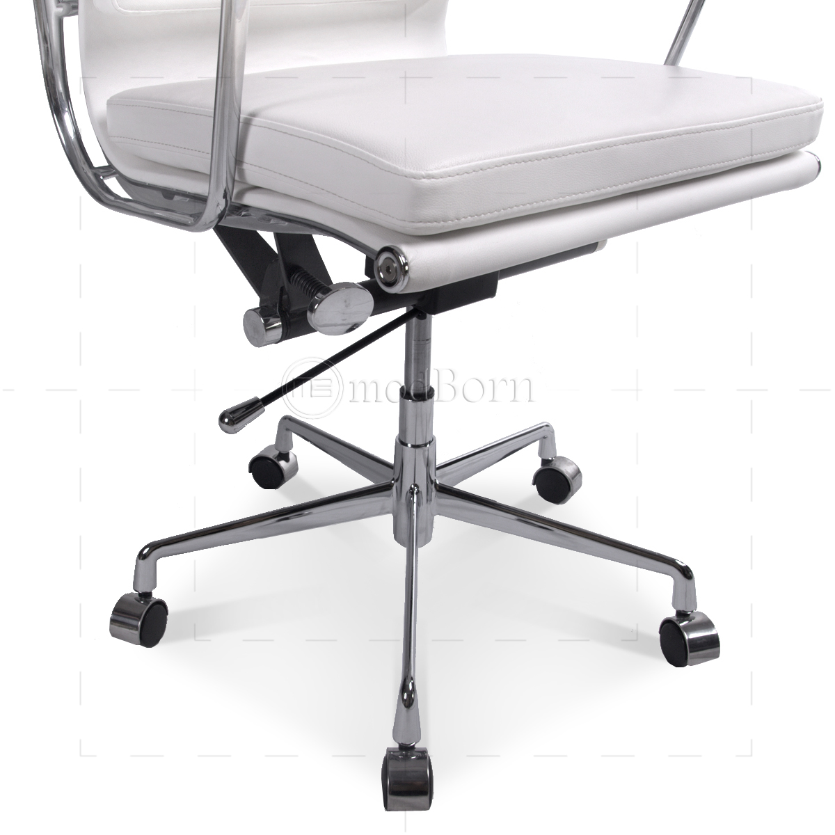 ea219 eames style office chair high back soft pad white leather