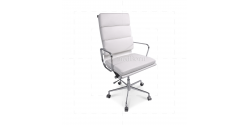 Office Chair High Back Soft Pad White Leather