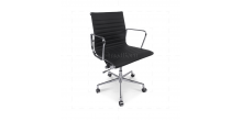 Office Chair Low Back Ribbed Black Leather
