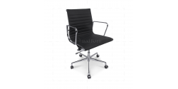 EA117 Eames Style Office Chair Low Back Ribbed Black Leather - Replica