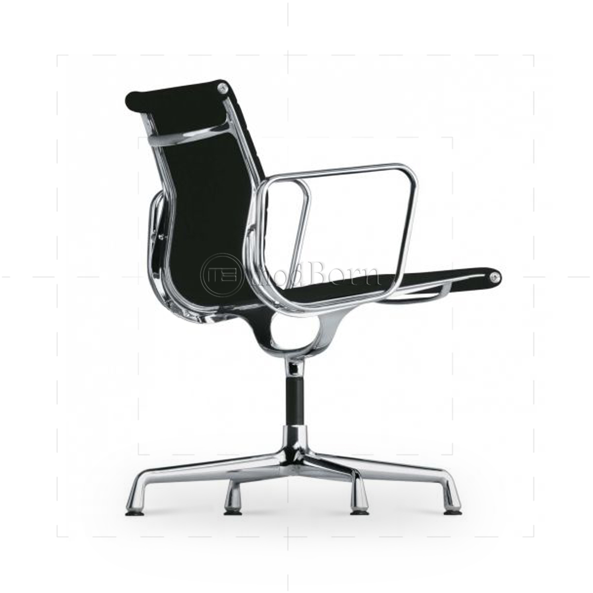 ea108 eames style office chair low back ribbed black leather. Black Bedroom Furniture Sets. Home Design Ideas