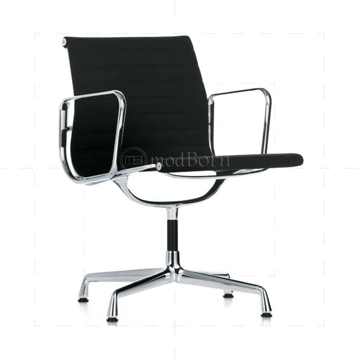 EA108 Eames Style Office Chair Low Back Ribbed Black Leather