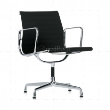 EA108 Eames Style Office Chair Low Back Ribbed  Black Leather - Replica