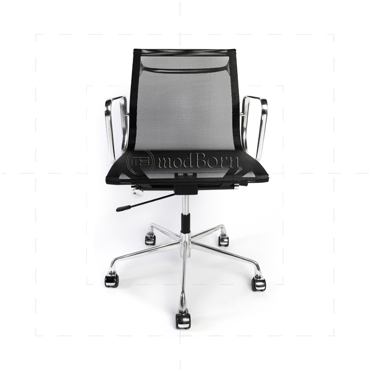 Ea117 Eames Style Office Mesh Chair Low Back Ribbed Black