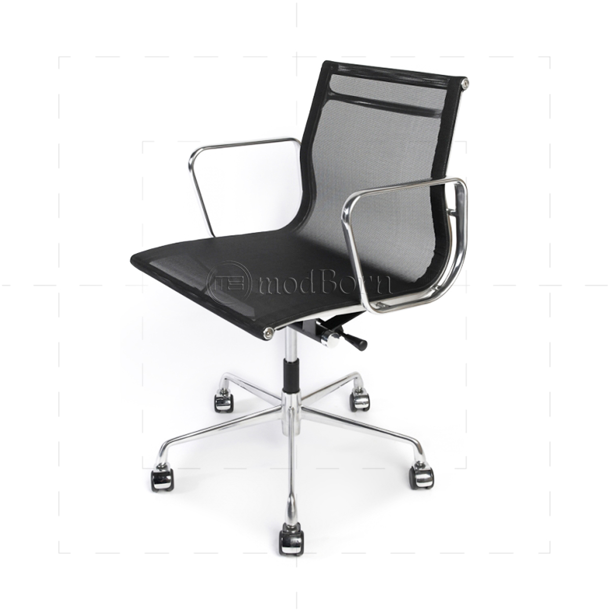 Leather reception chairs for home office - Ea108 Eames Style Office Mesh Chair Low Back Ribbed Black