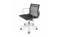 EA108 Eames Style Office Mesh Chair Low Back Ribbed Black Fabric