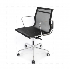 EA117 Eames Style Office Mesh Chair Low Back Ribbed Black Fabric - Replica