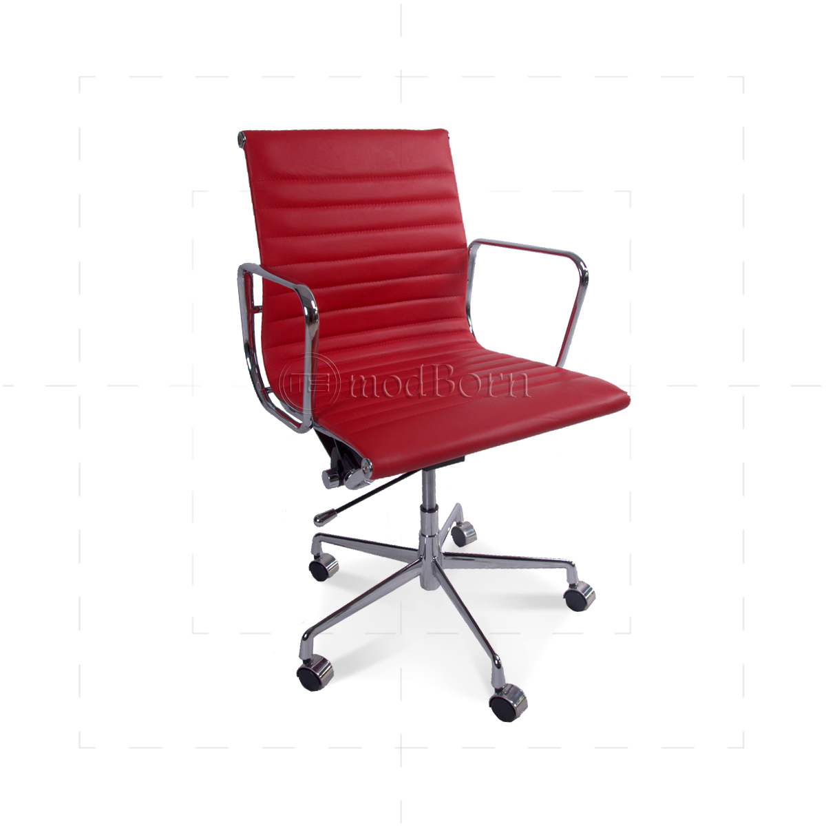 ea117 eames style office chair low back ribbed red leather replica. Black Bedroom Furniture Sets. Home Design Ideas