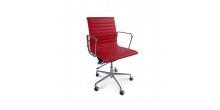 Office Chair Low Back Ribbed Red Leather