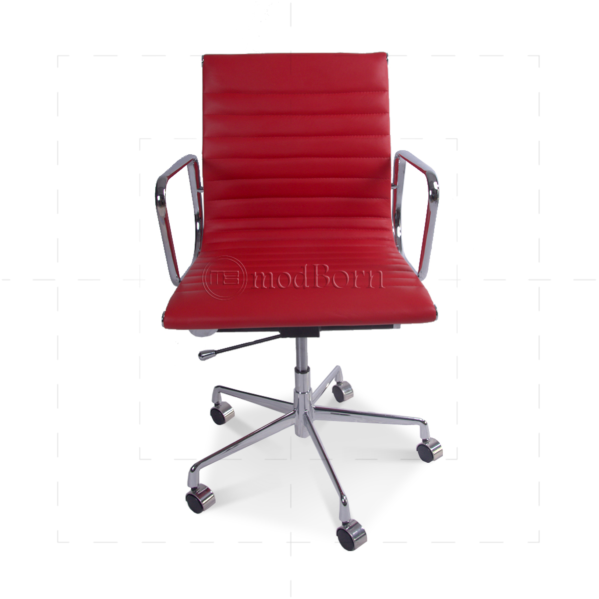 EA117 Eames Style Office Chair Low Back Ribbed Red Leather  : eames officechair lowback red front 1200x1200 from www.modborn.com size 1200 x 1200 jpeg 386kB