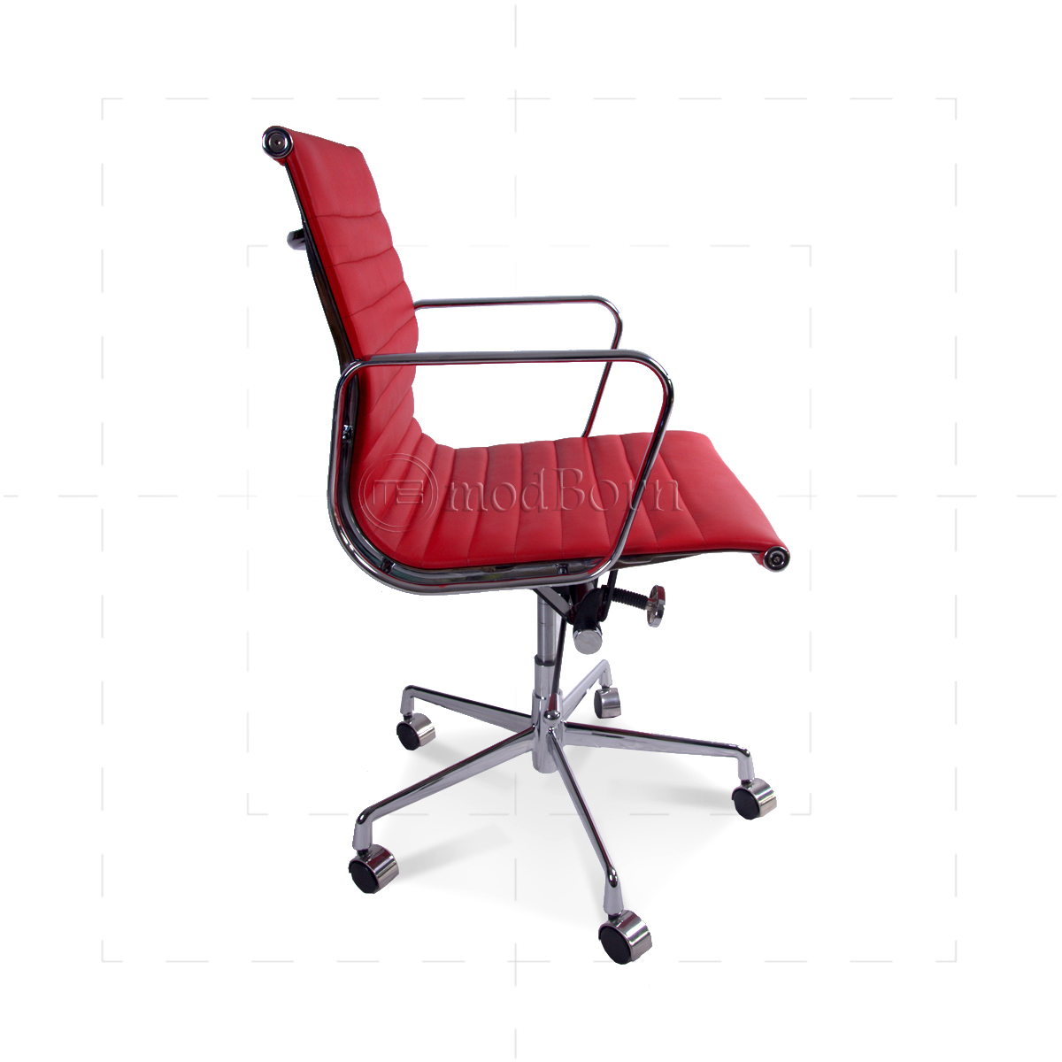 Ea117 eames style office chair low back ribbed red leather for Eames replica deutschland