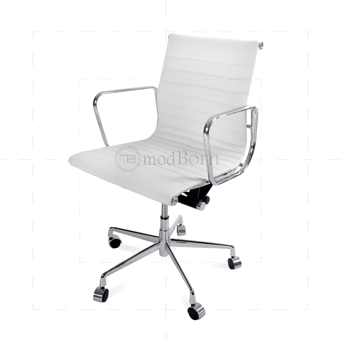 EA117 Eames Style fice Chair Low Back Ribbed White Leather Replica