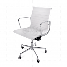 EA117 Eames Style Office Chair Low Back Ribbed White Leather - Replica