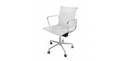 Office Chair Low Back Ribbed White Leather