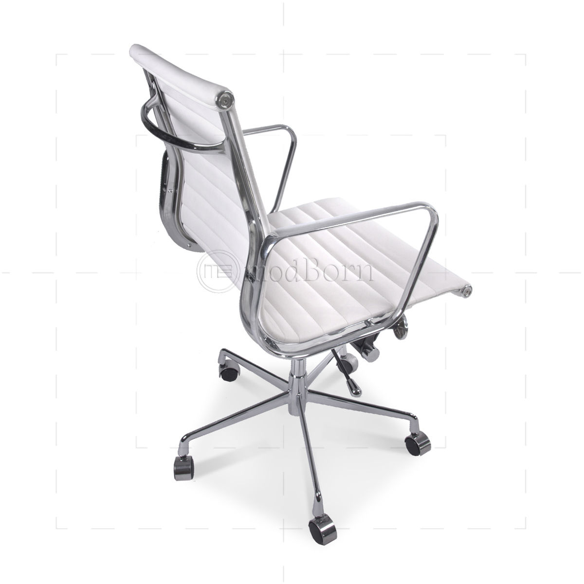 ea117 eames style office chair low back ribbed white leather replica. Black Bedroom Furniture Sets. Home Design Ideas